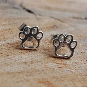 Pet Silver Color Paw Print Stud Metal Earrings